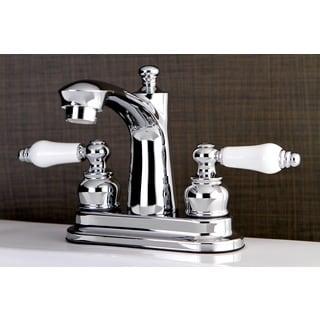 Euro Porcelain Lever Handles Bathroom Faucet