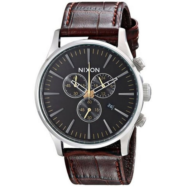 Nixon Men's A4051887-00 The Sentry Chrono Brown Gator Leather Watch 42mm