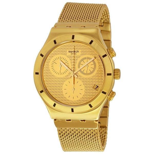 Swatch Unisex YCG410GA 'Irony' Chronograph Gold-Tone Stainless Steel Watch