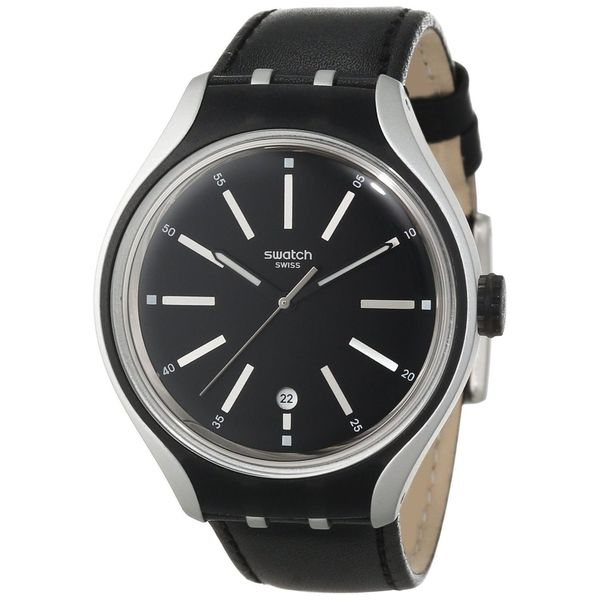Swatch Men's YES4003 'Irony' Black Leather Watch