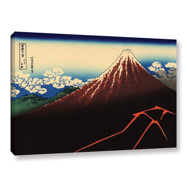 ArtWall Katsushika Hokusai 'Shower Below The Summit (Sanka Hakuu)' Gallery-wrapped Canvas