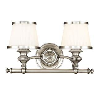 Hudson Valley Milton 2-light Vanity, Polished Nickel with Opal
