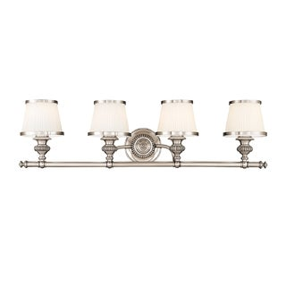 Hudson Valley Milton 4-light Vanity, Polished Nickel with Opal