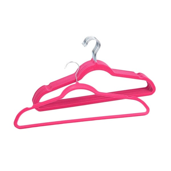 Space Saving Pink Velvet Clothes Hangers (Pack of 50)