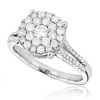 Luxurman 14k White Gold 1ct TDW Round Diamond Engagement Ring (G-H, VS1-VS2)