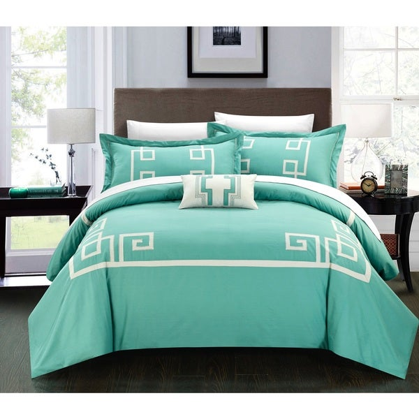 Chic Home Downton 100-percent Cotton Geometric Applique Embroidered 4-piece Duvet Set
