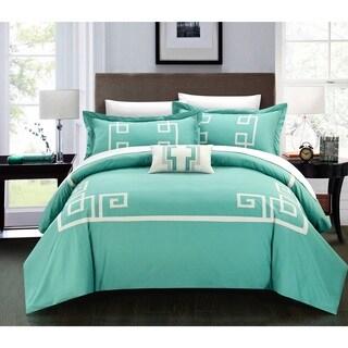Chic Home Downton 100-percent Cotton Geometric Applique Embroidered 4-piece Duvet Set