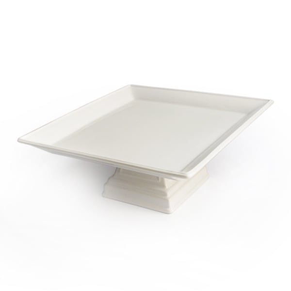 Bianca Ivory Square Pedestal Plate