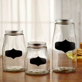 Style Setter Glass Chalkboard Canisters 3-piece Set