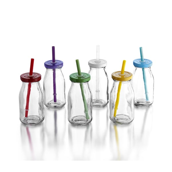Style Setter Set of 6 Bottles with Assorted Rainbow Colored Lids & Straws