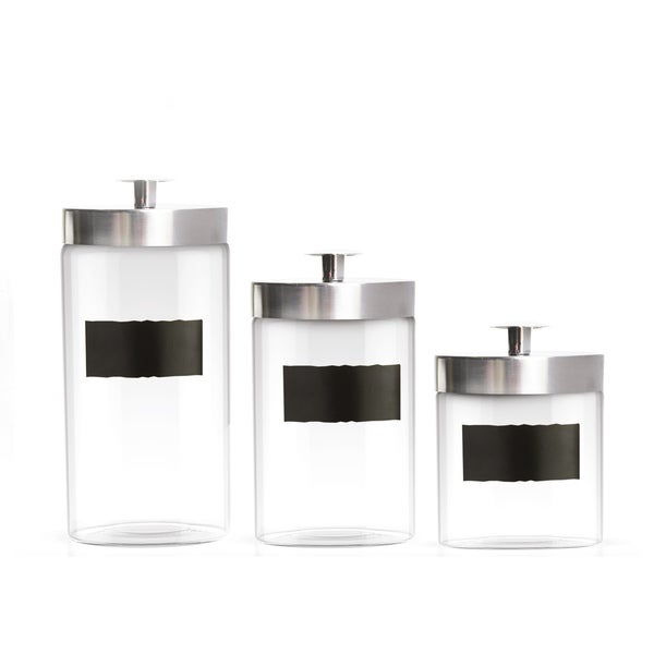 Style Setter Chalkboard Silver Canister with Lid 3-piece Set