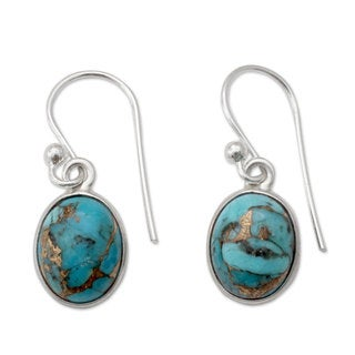 Handcrafted Sterling Silver 'Sky Harmony' Turquoise Earrings (India)