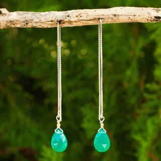 Gold Overlay 'Sublime Water Lily' Chalcedony Earrings (Thailand)