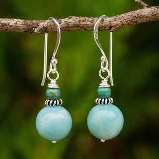Sterling Silver 'Heaven' Amazonite Turquoise Earrings (Thailand)