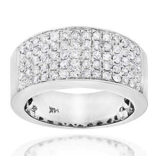 Luxurman 14k Gold 1 3/4ct TDW Pave Diamond Designer Wedding Band (G-H, SI1-SI2)