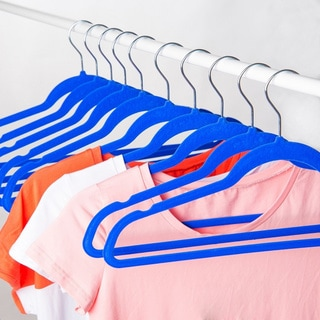 Blue Space Saving Non Slip Suit and Clothing Velvet Hangers (Pack of 50)
