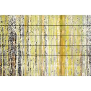 Parvez Taj 'Aspen Forest 2' Painting Print on White Wood