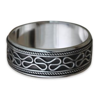 Men's Handcrafted Sterling Silver 'Rolling Waves' Ring (Indonesia)