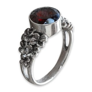 Sterling Silver 'Crimson Frangipani' Garnet Ring (Indonesia)