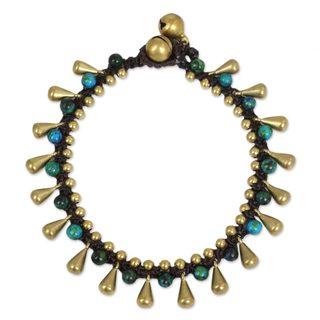Handcrafted Brass 'Summer's Charm' Serpentine Bracelet (Thailand)