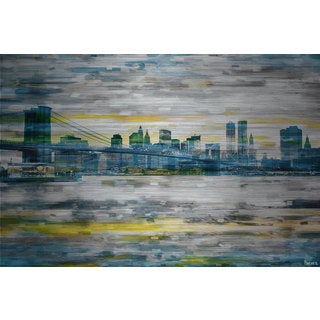 Parvez Taj 'Bridge Span' Painting Print on Brushed Aluminum