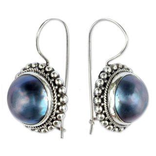 Sterling Silver 'In a Blue Moon' Pearl Earrings (13 mm) (Indonesia)