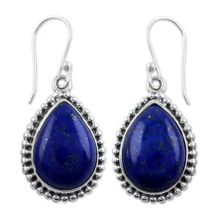 Handcrafted Sterling Silver Inspiration Lapis Lazuli Dangling Style Earrings (India)