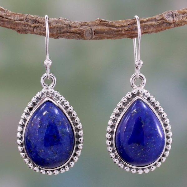 Sterling Silver 'Inspiration' Lapis Lazuli Earrings (India)