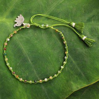Handcrafted Silver 'Sweet Elephant' Jasper Bracelet (Thailand)