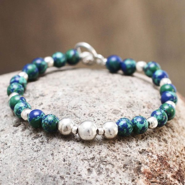 Handcrafted Sterling Silver 'Andean Planet' Azurite Bracelet (Peru)