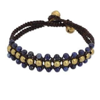 Handcrafted Brass 'Blue Joy' Lapis Lazuli Bracelet (Thailand)