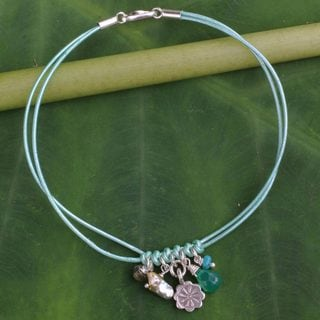 Silver 'Tribe Bloom' Multi-gemstone Pearl Bracelet (4 mm) (Thailand)