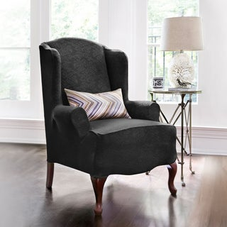 CoverWorks Dahlia Damask 1-piece Stretch Wing Chair Slipcover