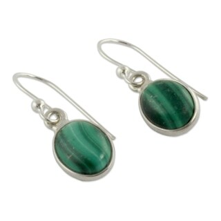 Handcrafted Sterling Silver 'Verdant Paths' Malachite Earrings (India)