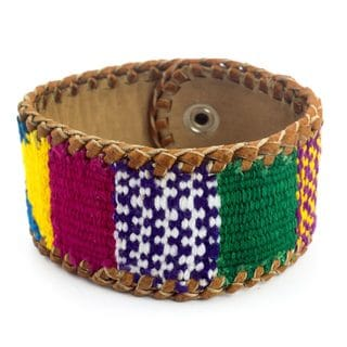 Handcrafted Leather Cotton 'Abundance' Bracelet (Guatemala)