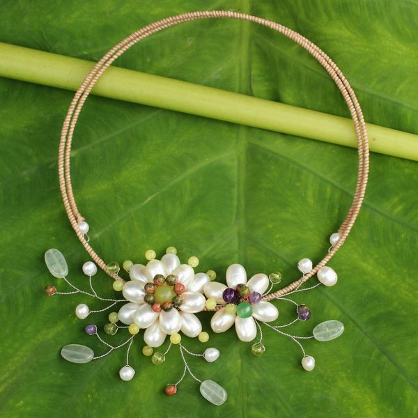 Handcrafted Pearl 'Sonata' Multi-gemstone Necklace (6 mm) (Thailand)