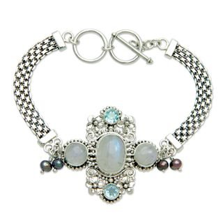 Silver 'Regal Gianyar' Pearl Multi-gemstone Bracelet (4mm) (Indonesia)