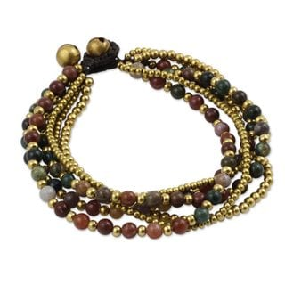 Handcrafted Brass Joy Multicolor Jasper Beaded Style Adjustable Bracelet (Thailand)