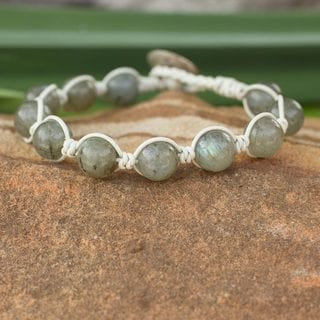 Leather 'Orbs of Imagination' Labradorite Bracelet (Thailand)