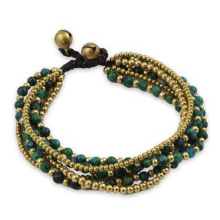 Handcrafted Brass 'Evergreen Joy' Serpentine Bracelet (Thailand)