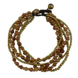 Handcrafted Brass 'Sunrise Joy' Quartz Bracelet (Thailand)