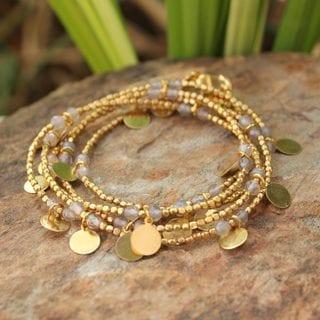 Handcrafted Gold Overlay 'Moonlit Suns' Agate Bracelet (Thailand)