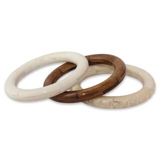 Set of 3 Handcrafted Bone 'Delhi Harmony' Bracelets (India)