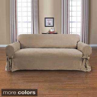 Coverworks Sienna Suede 1-piece Relaxed Fit Sofa Slipcover with Ties