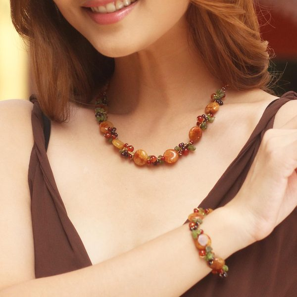 Handmade Multi-gemstone Orange Peonies Beaded Necklace (Thailand) 15774166