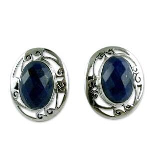 Sterling Silver 'Seductive Blue' Lapis Lazuli Earrings (India)