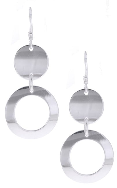 Journee Sterling Silver Fashion Circles Earrings
