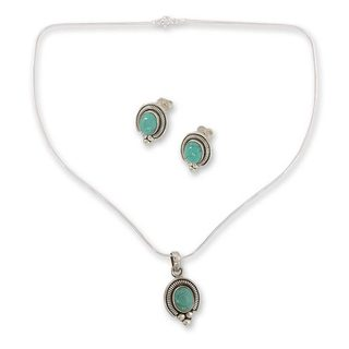 Sterling Silver 'Song of Joy' Magnesite Jewelry Set (India)