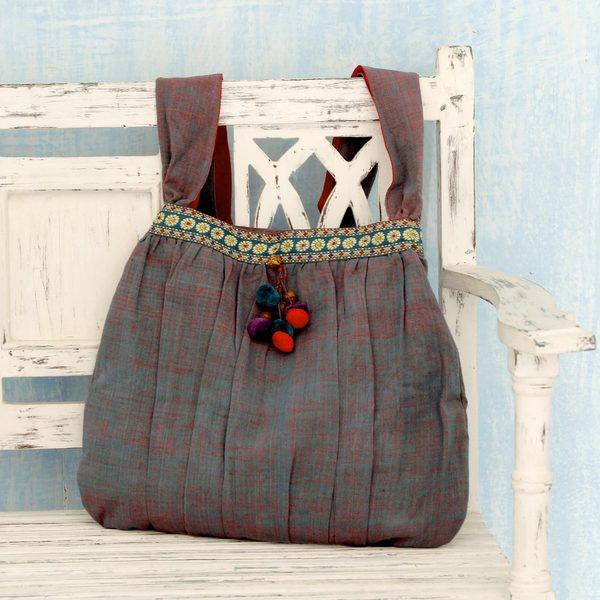 Handcrafted Cotton 'Assam Garden' Shoulder Bag (India)