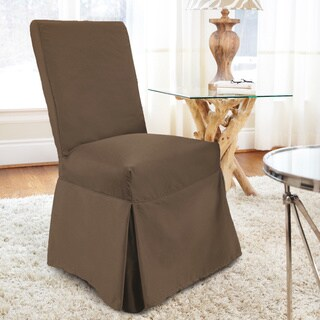 CoverWorks Tara Twill Relaxed Fit Long Dining Chair Slipcover